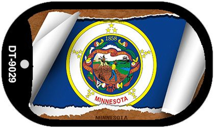 "Minnesota State Flag Scroll Dog Tag Kit 2"" Metal Novelty"