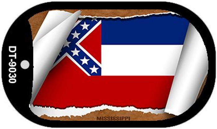 "Mississippi State Flag Scroll Dog Tag Kit 2"" Metal Novelty"