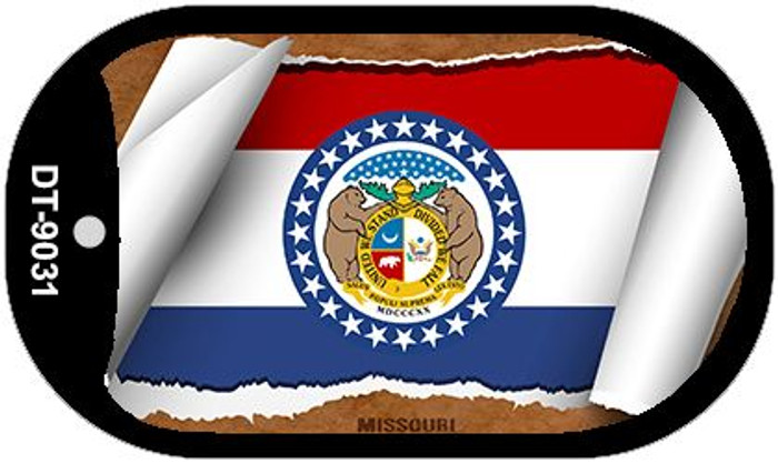 "Missouri State Flag Scroll Dog Tag Kit 2"" Metal Novelty"