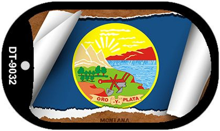 "Montana State Flag Scroll Dog Tag Kit 2"" Metal Novelty"