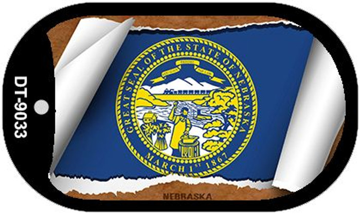 "Nebraska State Flag Scroll Dog Tag Kit 2"" Metal Novelty"
