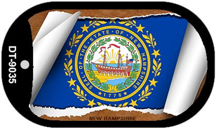 "New Hampshire State Flag Scroll Dog Tag Kit 2"" Metal Novelty"