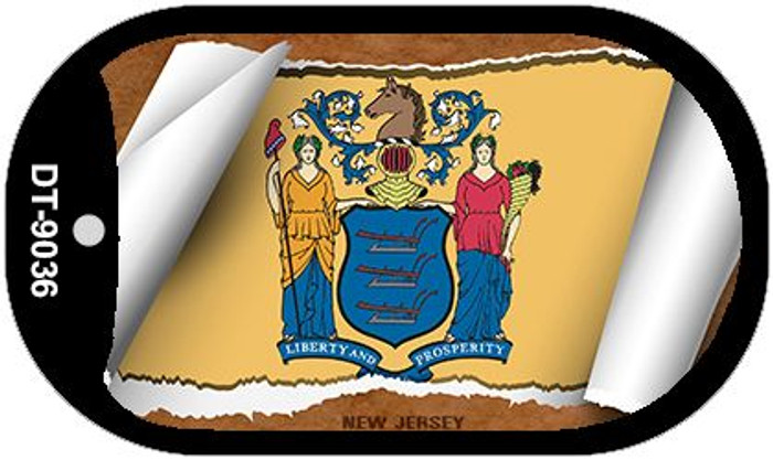 "New Jersey State Flag Scroll Dog Tag Kit 2"" Metal Novelty"