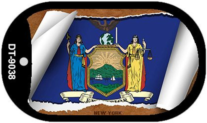 "New York State Flag Scroll Dog Tag Kit 2"" Metal Novelty"