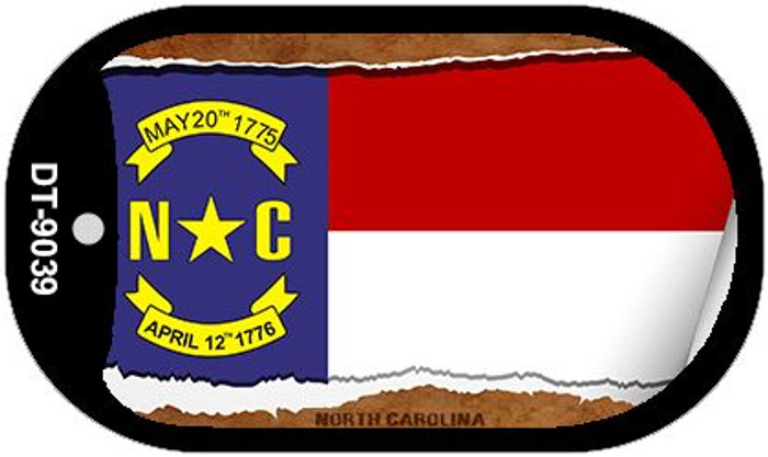 "North Carolina State Flag Scroll Dog Tag Kit 2"" Metal Novelty"