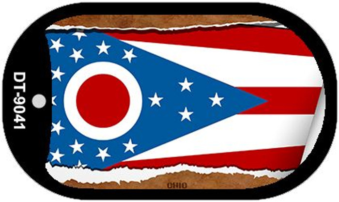 "Ohio State Flag Scroll Dog Tag Kit 2"" Metal Novelty"
