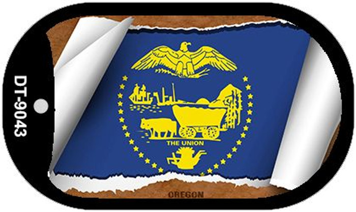 "Oregon State Flag Scroll Dog Tag Kit 2"" Metal Novelty"