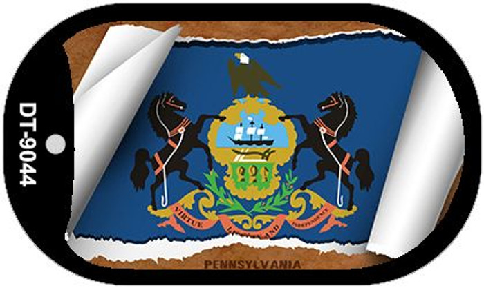 "Pennsylvania State Flag Scroll Dog Tag Kit 2"" Metal Novelty"