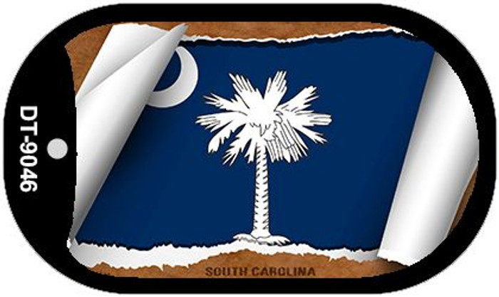 "South Carolina State Flag Scroll Dog Tag Kit 2"" Metal Novelty"