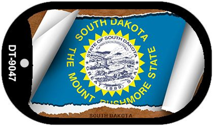 "South Dakota State Flag Scroll Dog Tag Kit 2"" Metal Novelty"