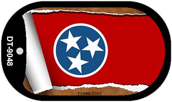 "Tennessee State Flag Scroll Dog Tag Kit 2"" Metal Novelty"