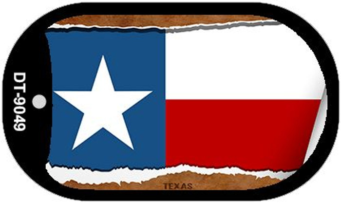 "Texas State Flag Scroll Dog Tag Kit 2"" Metal Novelty"