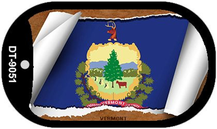 "Vermont State Flag Scroll Dog Tag Kit 2"" Metal Novelty"