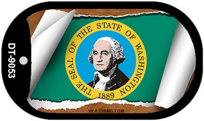 "Washington State Flag Scroll Dog Tag Kit 2"" Metal Novelty"