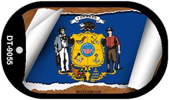 "Wisconsin State Flag Scroll Dog Tag Kit 2"" Metal Novelty"