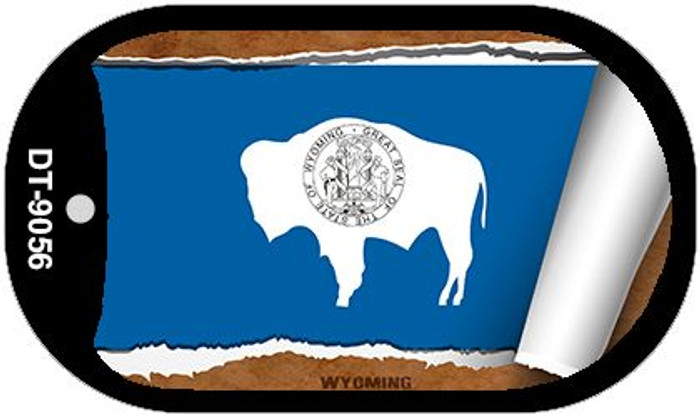 "Wyoming State Flag Scroll Dog Tag Kit 2"" Metal Novelty"