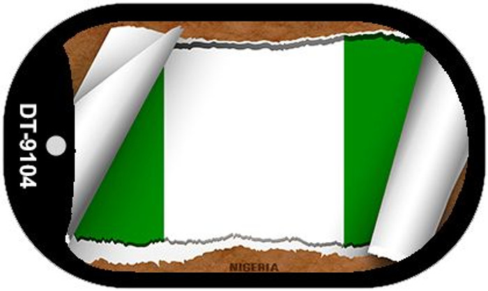 "Nigeria Country Flag Scroll Dog Tag Kit 2"" Metal Novelty"