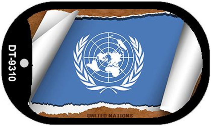 "United Nations Country Flag Scroll Dog Tag Kit 2"" Metal Novelty"