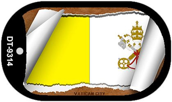 "Vatican City Country Flag Scroll Dog Tag Kit 2"" Metal Novelty"