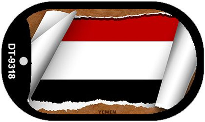 "Yemen Country Flag Scroll Dog Tag Kit 2"" Metal Novelty"