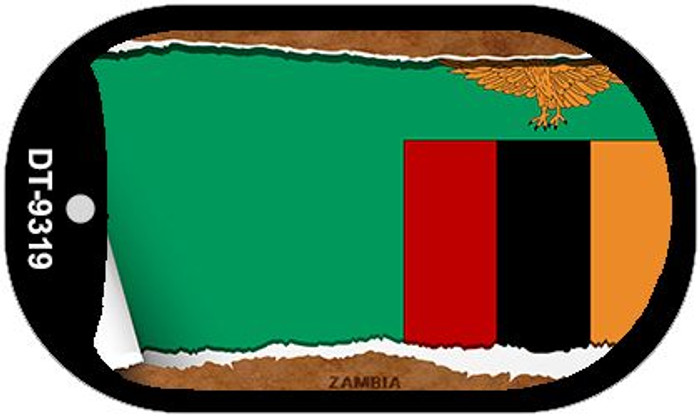 "Zambia Country Flag Scroll Dog Tag Kit 2"" Metal Novelty"