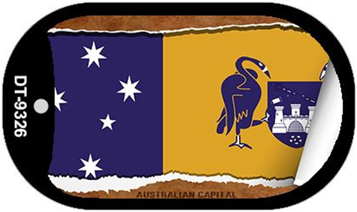 "Australian Capital Country Flag Scroll Dog Tag Kit 2"" Metal Novelty"