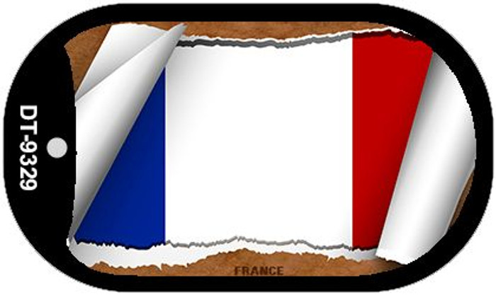 "France Country Flag Scroll Dog Tag Kit 2"" Metal Novelty"