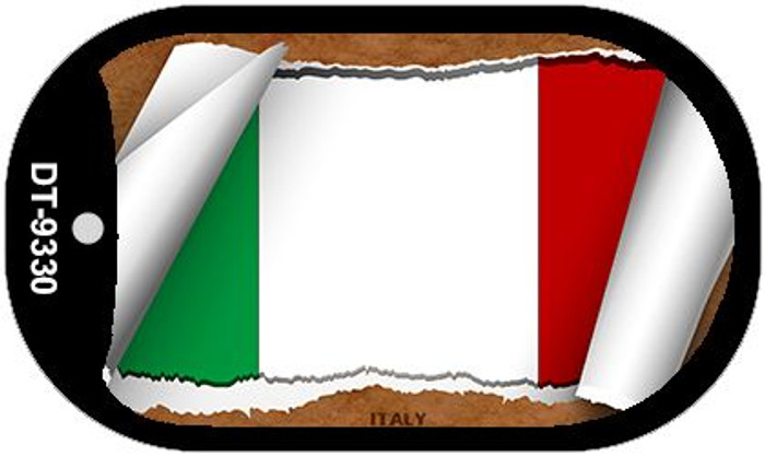 "Italy Country Flag Scroll Dog Tag Kit 2"" Metal Novelty"
