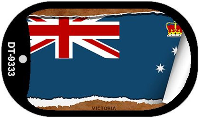 "Victoria Country Flag Scroll Dog Tag Kit 2"" Metal Novelty"