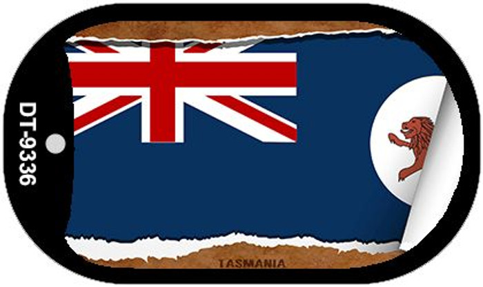 "Tasmania Country Flag Scroll Dog Tag Kit 2"" Metal Novelty"
