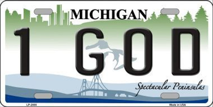 1 GOD Michigan State Metal Novelty License Plate LP-2808