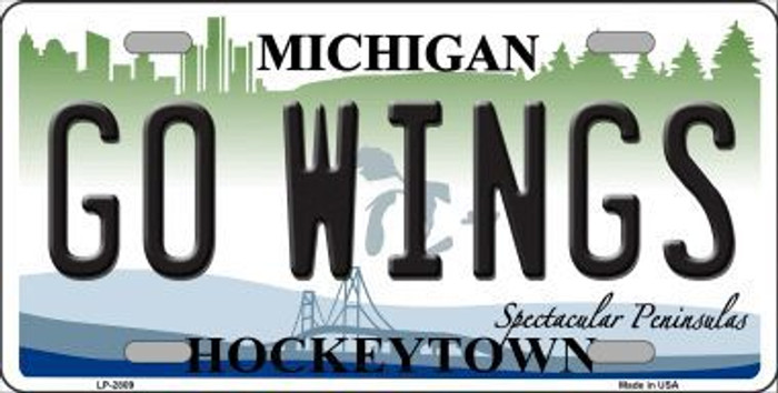 Go Wings Michigan State Metal Novelty License Plate LP-2809