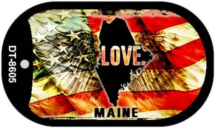 "Maine Love Dog Tag Kit 2"" Metal Novelty"