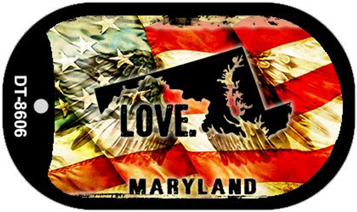 "Maryland Love Dog Tag Kit 2"" Metal Novelty"