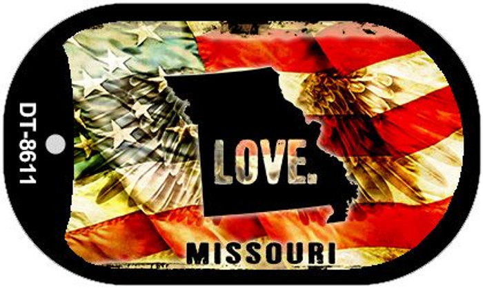 "Missouri Love Dog Tag Kit 2"" Metal Novelty"