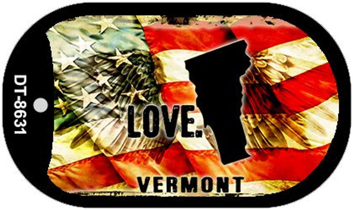 "Vermont Love Dog Tag Kit 2"" Metal Novelty"