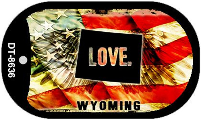 "Wyoming Love Dog Tag Kit 2"" Metal Novelty"