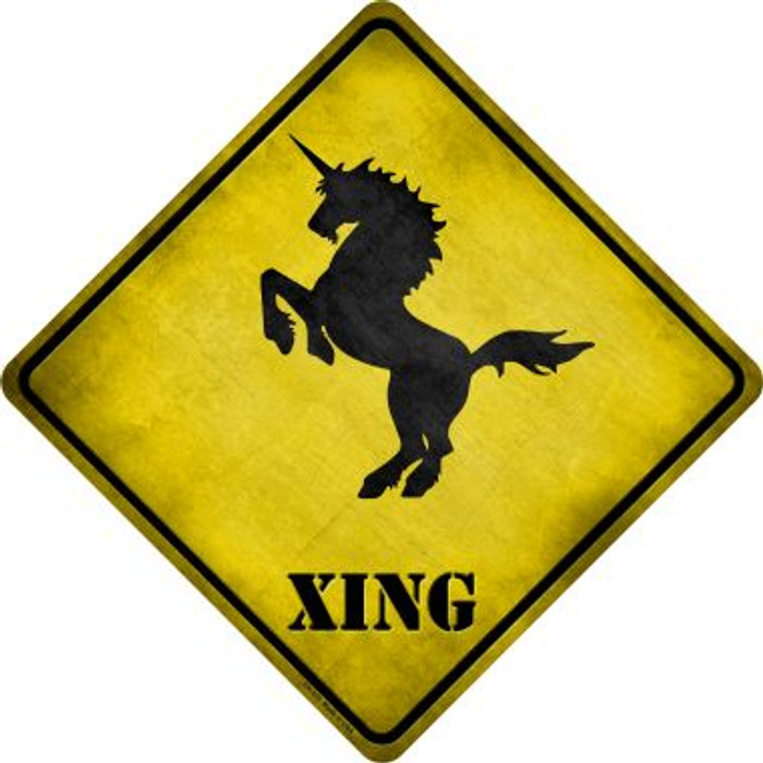Unicorn Rearing Xing Novelty Metal Crossing Sign