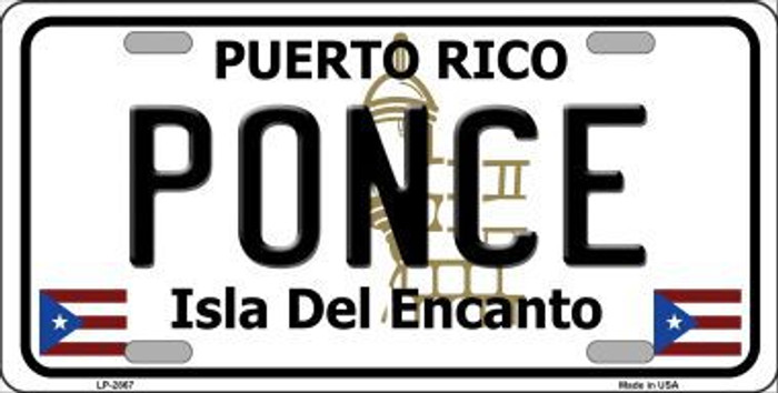 Ponce Puerto Rico Metal Novelty License Plate LP-2867