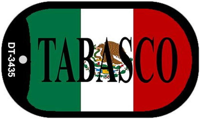"Tabasco Mexico Flag Dog Tag Kit 2"" Metal Novelty Necklace"