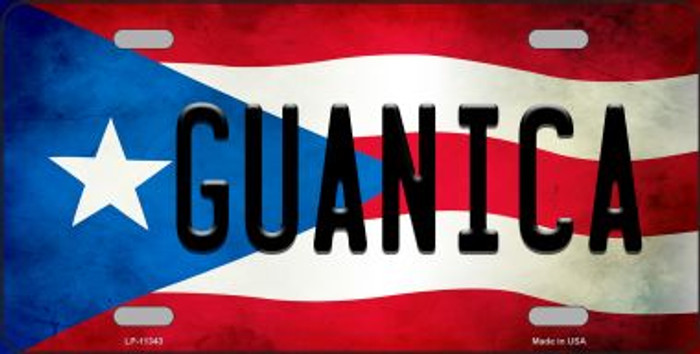 Guanica Puerto Rico Flag Background License Plate Metal Novelty