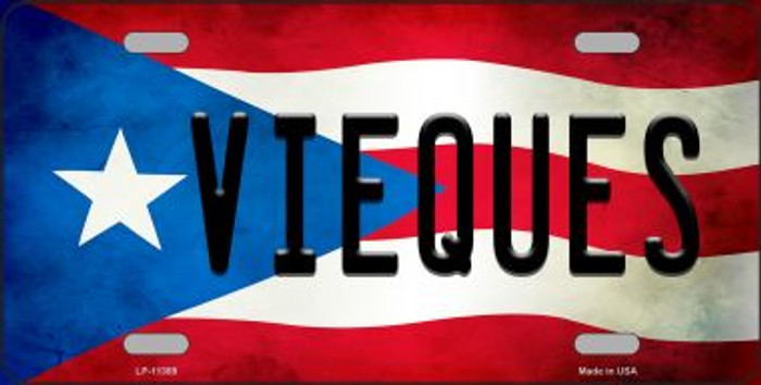 Vieques Puerto Rico Flag Background License Plate Metal Novelty