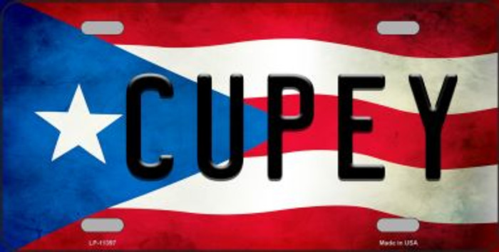 Cupey Puerto Rico Flag Background License Plate Metal Novelty
