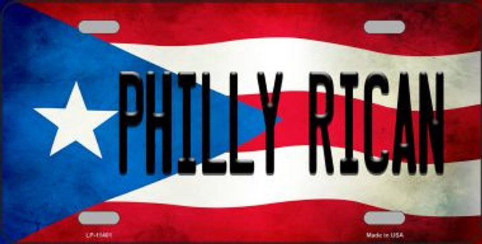 Philly Rican Puerto Rico Flag Background License Plate Metal Novelty
