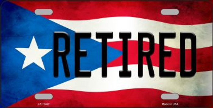 Retired Puerto Rico Flag Background License Plate Metal Novelty