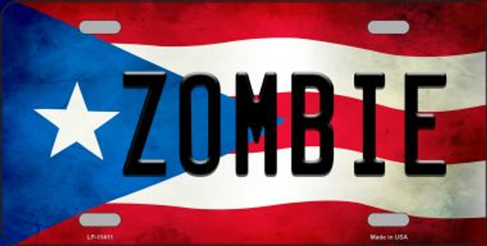 Zombie Puerto Rico Flag Background License Plate Metal Novelty