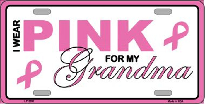 Pink For Grandma Metal Vanity License Plate Sign