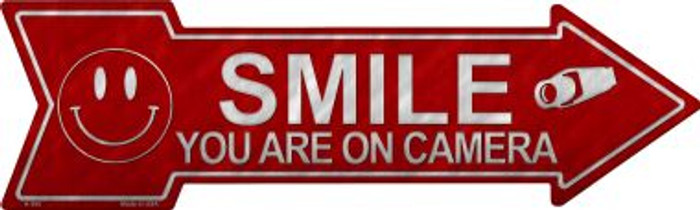 Smile You're On Camera Novelty Metal Arrow Sign