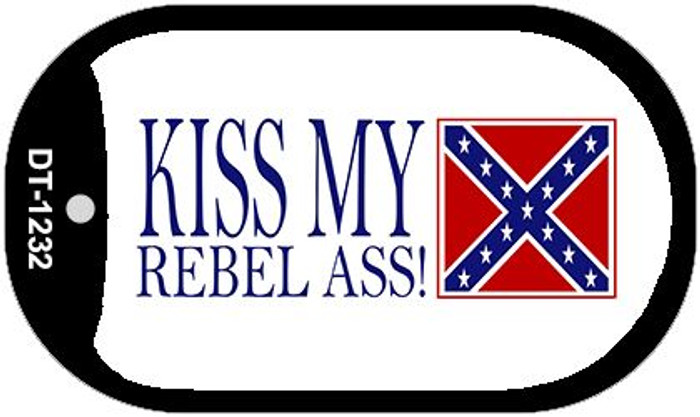 Kiss My Rebel Ass Dog Tag Kit Metal Novelty Necklace