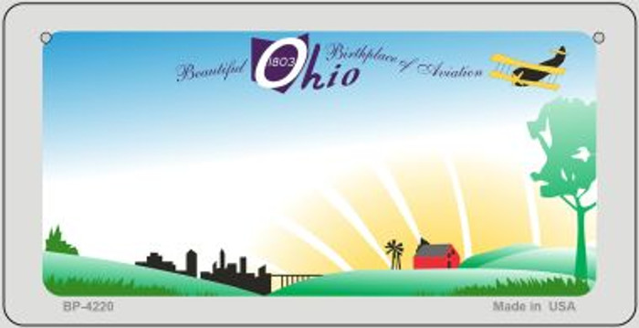 Ohio State Background  Novelty Bicycle License Plate